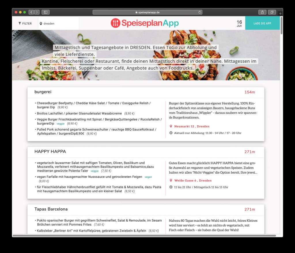 Bildschirmfoto SpeiseplanApp Website Branchenliste für Mittagstische
