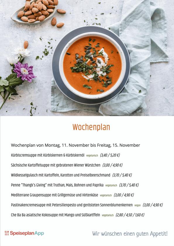 Wochenplan, PDF Druckvorlage, Speisen, Menü, Preis, vegan, vegetarisch